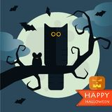 Vector cats elements. Vector happy halloween cat front moon with pumpkin on old tree. Eps 10 Stock Photography