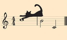 Vector cats and music Royalty Free Stock Photos