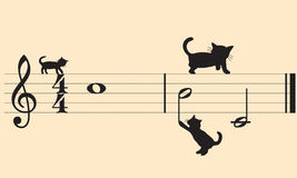 Vector cats and music. Draft staff and cats made to the computer. Cmyk to RGB Royalty Free Stock Images