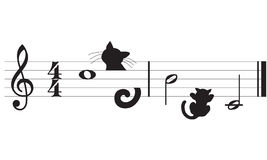Vector cats and music. Draft staff and cats made to the computer. Cmyk to RGB