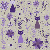 Vector cats seamless pattern and seamless pattern. In swatch menu. Cats seamless pattern(oriental pattern)  can be used for wallpapers, clothes, tableware Royalty Free Stock Photography
