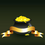 Vector cauldron full of gold coins Stock Images