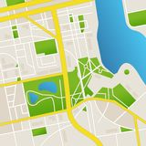 Vector cbstract city map and river Royalty Free Stock Photos