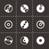 Vector cd icon set. On black background Royalty Free Stock Images