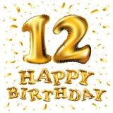 Vector a 12a celebração do aniversário com balões do ouro e confetes dourados, brilhos projeto da ilustração 3d para seu cartão, Fotos de Stock Royalty Free