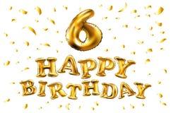 Vector a 6a celebração do aniversário com balões do ouro e confetes dourados, brilhos Projeto da ilustração para seu cumprimento  Fotografia de Stock