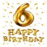 Vector a 6a celebração do aniversário com balões do ouro e confetes dourados, brilhos Projeto da ilustração para seu cumprimento  Fotografia de Stock Royalty Free