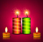 Vector celebration diwali festival crackers. Bright colorful background Stock Photos