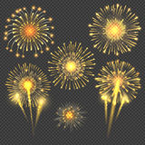 Vector celebratory gold firework salute burst. Light set firework and holiday firework for new year event illustration Stock Photos