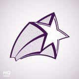 Vector celestial object, pentagonal comet star illustration. Stock Images
