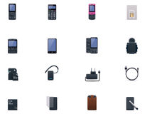 Vector cell phones and accessories icon set. Set of the phones and accessories related icons Stock Photo