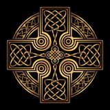 Vector celtic cross. Isolated Celtic cross from national Scandinavian ornament. Symbol of Druids, Ireland and Scotland. Golden vector sign on a black background Royalty Free Stock Photography