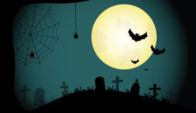 Vector cemetery and full moon. Stock Images