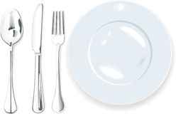 Vector. Cena-placa, fork de la cuchara y cuchillo Fotos de archivo