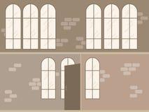 Vector a cena vazia interior do escritório moderno do sótão no estilo liso Imagens de Stock