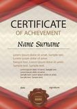 Vector certificate of achievement or diploma with wax seal. Temp Stock Images