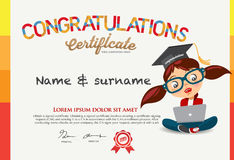 Vector Certificate for school children template. Royalty Free Stock Image