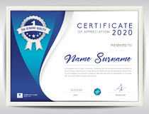 Vector certificate template, blue abstract background Stock Photo