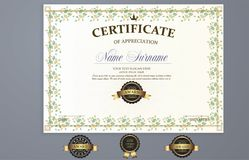 Vector certificate template stock illustration