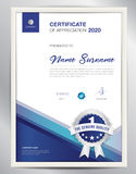 Vector certificate template. Certificate template vector illustration, diploma layout in a4 size, business flyer design, advertisement, printing, achievement Stock Image