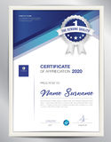 Vector certificate template. Certificate template vector illustration, diploma layout in a4 size, business flyer design, advertisement, printing, achievement Stock Photography