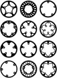Vector chainrings pack. Vector pack of bike chainrings and rear sprocket Royalty Free Stock Image