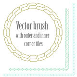Vector chains, pigtails brush. With corners for flashtattoo and decoration Royalty Free Stock Image