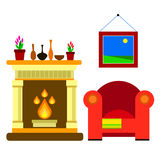 Vector chair sofa furniture fireplace home vector fire hearth indoor style year decor flame traditional. Vector chair sofa furniture fireplace home vector fire Royalty Free Stock Image