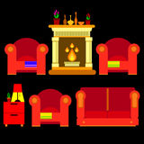Vector chair sofa furniture fireplace home vector fire hearth indoor style year decor flame traditional Stock Images
