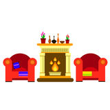 Vector chair sofa furniture fireplace home vector fire hearth indoor style year decor flame traditional. Vector chair sofa furniture fireplace home vector fire Stock Image