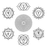 Vector chakras symbols set illustration Royalty Free Stock Images