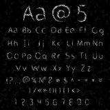Vector chalk alphabet and numbers Stock Photos