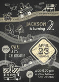 Vector chalk Birthday invitation template on blackboard background. Hand-drawn doodles cars and traffic signs, balloons and blowouts, garland and sweets, gift Stock Images