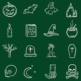 Vector Chalk Doodle Halloween Icons Stock Photography