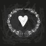 Vector chalk doodle sketch of wreath on blackboard Royalty Free Stock Image
