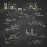 Vector chalk doodles ship and boat icons set. stock illustration