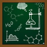 Vector chalk draw chemistry elements. On green background. Eps10 Stock Photos