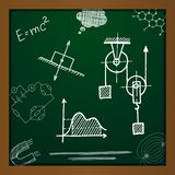 Vector chalk draw phisics elements. On green background. Eps10 Royalty Free Stock Image