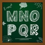 Vector chalk drawing alphabet. On green background. Eps10 Stock Photography