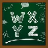 Vector chalk drawing alphabet. On green background. Eps10 Royalty Free Stock Photography