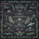 Vector Chalk Drawing Floral Design Elements, Crowns Royalty Free Stock Photography
