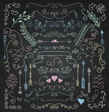 Vector Chalk Drawing Rustic Floral Design Elements Stock Photo