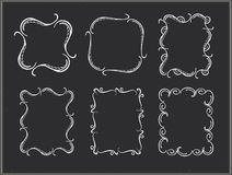 Vector chalk ornate frames. Vector chalk ornate round frames. Retro ornament Stock Image