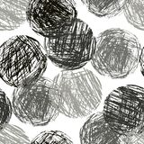 Monochrome geometric circle forms seamless pattern. Hand drawing round artistic grunge stroke figure. Vector chalk or pencil black and white sphere texture Stock Images