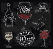 Vector chalk wine Royalty Free Stock Photo