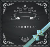 Vector Chalkboard Card with Doodle Hand Sketched Stock Photo