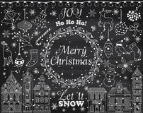 Vector Chalkboard Christmas and New Year Set with Winter Elements Stock Image