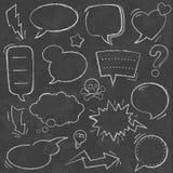 Vector Chalkboard comic speech bubbles. A comprehensive set of high detail Design grunge Chalkboard Speech Bubbles and comic elements Stock Image