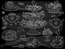 Vector Chalkboard Doodle Tea Party. Doodle Tea Party Set. Royalty Free Stock Photography