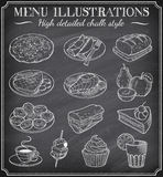 Vector Chalkboard Food Illustrations Stock Image